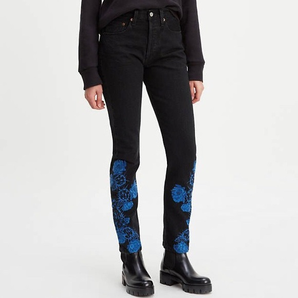 Levi's Made Crafted 501 Embroidered Skinny Jeans